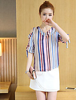 Women's Casual/Daily Simple Summer T-shirt Skirt Suits,Striped V-Neck 1/2 Length Sleeve Micro-elastic