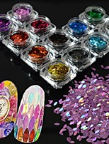 13bottles/set New Fashion Charming Rainbow Sequins DIY Graceful Shining Slice Decoration Nail Art Glitter Horse Eye Paillette Charm Flakes MB01-13