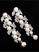 Drop Earrings Dangling Style Euramerican Crystal Imitation Pearl Alloy Leaf Jewelry ForWedding Party