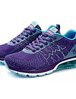Women's Athletic Shoes Comfort PU Spring Fall Outdoor Lace-up Flat Heel Black/White Purple Dark Blue Under 1in