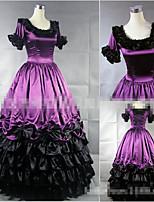 One-Piece/Dress Sweet Lolita Vintage Inspired Cosplay Lolita Dress Black Purple Solid Color Floor-length Skirt Dress For Modal