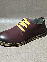 Men's Oxfords Comfort Cowhide Spring Summer Casual Comfort Low Heel Burgundy Flat