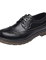 Men's Oxfords Comfort Spring Summer British Casual Outdoor Office & Career Lace-up Leather Shoes Flat Heel Brown Black Flat