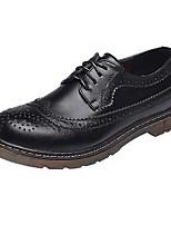 Для мужчин Туфли на шнуровке Удобная обувь Кожа Весна Лето Повседневные Удобная обувь Шнуровка На плоской подошве Черный КоричневыйНа
