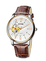 Men's Skeleton Watch Fashion Watch Mechanical Watch Automatic self-winding Leather Band Black Brown