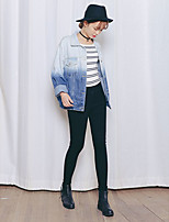 Women's Going out Casual/Daily Vintage Street chic Spring Fall Denim Jacket,Letter Stand Long Sleeve Regular Cotton