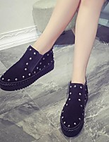 Women's Boots Comfort Flocking Winter Casual Creepers Black Gray 1in-1 3/4in