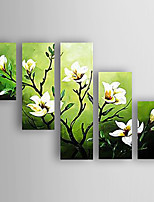 Hand-Painted 5 pcs of Set Flowers Canvas Oil Painting For Home Decoration Ready to Hang