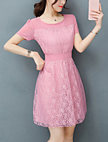 Women's Slim chic Chiffon Dress Solid Patchwork Lace Round Neck Mini Short Sleeve Summer Mid Rise