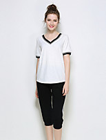 YIYEXINXIANGWomen Casual/Daily Casual/Daily Summer T-shirt Pant SuitsSolid V Neck Short Sleeve Printing strenchy