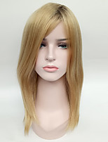 Black Ombre Blonde Straight Fashion Daily Wearing Wig for Blande Women Heat Resistant Syntheitc Wig.