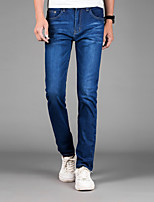 Men's Mid Rise Micro-elastic Skinny Jeans PantsSimple Straight Slim Solid YF-6012