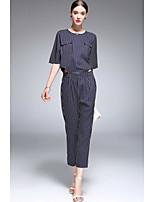 Mujer Adorable Noche Casual/Diario Primavera Verano Camisas Pantalón Trajes,Escote Redondo A Rayas Media Manga Microelástico