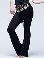 Latin Dance Bottoms Women's Performance Ice Silk Tassel(s) 1 Piece Natural Pants