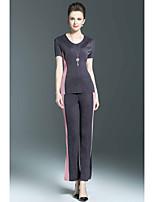 Chemisier Pantalon Costumes Femme,Blocs de Couleur Décontracté / Quotidien Sophistiqué Printemps Eté Manches Courtes Col Arrondi