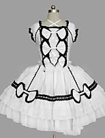 Una Sola Pieza/Vestidos Gosurori Lolita Cosplay Vestido  de Lolita Negro Blanco Cosecha Casquillo Manga Corta Corto / Mini Vestido por