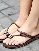 Men's Slippers & Flip-Flops Comfort Cowhide Spring Casual Comfort Brown Black Flat