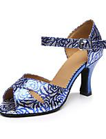 Для женщин Танцевальные кроссовки Шёлк Сандалии Кроссовки Профессиональный стиль С пряжкой На толстом каблуке Синий 5 - 6,8 см