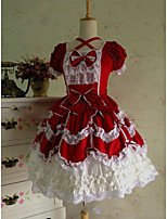 One-Piece/Dress Sweet Lolita Lolita Cosplay Lolita Dress White Blue Red Vintage Cap Short Sleeve Short / Mini Dress For Other