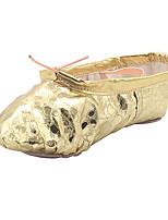 Não Infantil Balé Couro Sintético Sapatilhas Interior Leopardo Sem Salto Dourado Prateado