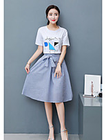 Women's Casual/Daily Simple Summer T-shirt Skirt Suits,Print Round Neck Short Sleeve