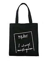 Women Shoulder Bag Canvas All Seasons Casual Shopper Magnetic Black White