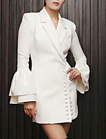 Women's Going out Casual/Daily Cute Spring Blazer,Solid V Neck Long Sleeve Long Others