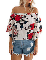 Women's Going out Boho Summer T-shirt,Floral Boat Neck ½ Length Sleeve Polyester Medium