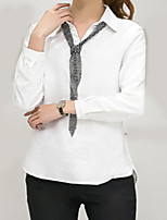 Women's Casual/Daily Simple Shirt,Solid Square Neck Long Sleeve Others