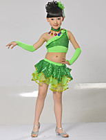 Latin Dance Outfits Kid's Cotton Sequin 6 Pieces Sleeveless Dropped Skirts Tops Neckwear Bracelets Headpieces