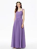 LAN TING BRIDE Földig érő Anna királynő Koszorúslány ruha - Gyönyörű fekete Ujjatlan Sifon Csipke