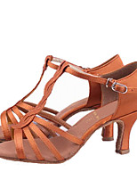 Women's Latin Satin Sandals Indoor Heel Brown Customizable