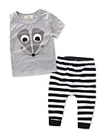 Boys Stripe Animal SetsCotton Summer Short Sleeve Clothing Set Baby Kids Clothes Suit 2pcs 6M-3Y