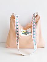 Women Shoulder Bag Canvas All Seasons Casual Shopper Zipper Light Grey Dark Green Yellow Apricot Ocean Blue