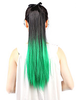 Neitsi 1Pcs 22'' 115g Striaght Wrap Around Ponytail Hair Extensions Synthetic Ombre T-Green#