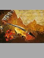 מצויר ביד טבע דומםמופשט (אבסטרקטי) מודרני / עכשווי פנל אחד בד ציור שמן צבוע-Hang For קישוט הבית