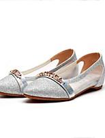Для женщин Мокасины и Свитер Удобная обувь Тюль Ткань Весна Лето Повседневные Удобная обувь Бусины Комбинация материаловНа плоской