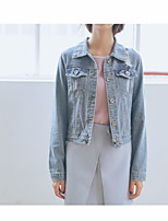 Women's Going out Casual/Daily Vintage Simple Fall Winter Denim Jacket,Solid Shirt Collar Long Sleeve Regular Others