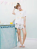 Women's 2 Pcs Sleepwear Suit Short Sleeve Sweet Cartoon Polka Dot Pajamas Suit