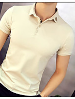 Men's Office/Career Street chic Polo,Solid Shirt Collar Short Sleeve Cotton
