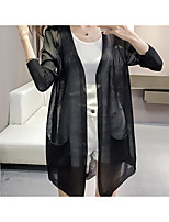 Women's Other Casual Long Cardigan,Solid Round Neck ¾ Sleeve Silk Summer Semi-opaque Micro-elastic