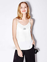 Tee-shirt Femme,Couleur Pleine Imprimé Décontracté / Quotidien simple Sans Manches A Bretelles Polyester
