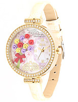 Women's Fashion Watch Quartz Leather Band White Red