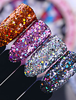 Holographic Nail Sequins Glitter 2g Mix Size Hexagon Colorful Nail Flakies Powder Tips for Nail Art Decoration