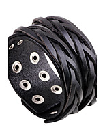 Men's Leather Bracelet Simple Casual Unique Cool Fashion Vintage Punk Hip-Hop Rock Leather Band Geometric Jewelry For Party Birthday Gift Sports