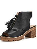 Women's Sandals Leatherette Summer Tassel Chunky Heel Black Gray Almond 2in-2 3/4in