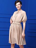 Swing Vestito Da donna-Casual Semplice Tinta unita Colletto alla coreana Al ginocchio Mezze maniche Chiffon Estate A vita altaMedia
