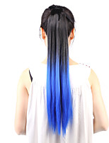 Neitsi 1Pcs 22'' 115g Striaght Wrap Around Ponytail Hair Extensions Synthetic Ombre T-Blue#