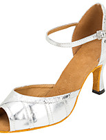 Customizable Women's Latin Faux Leather Sandals Performance Criss-Cross Cuban Heel Silver 3