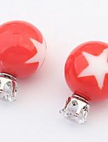 Euramerican Bright Candy Earrings Pentagram Pattern Women's Daily Stud Earrings Gift Jewelry